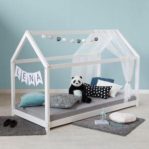 Homestyle4u 1969, Kinderbett Hausbett 160x80 Weiß mit Lattenrost Kinder Bett Haus Holz Kiefer 80x160 cm