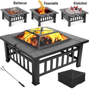 Feuerschale BBQ Grill Feuerkorb Stehlen Funkenhaube Quadratisch Feuerstelle Gartenfeuer mit Grillrost, 3 in 1 Feuerschale für BBQ, Heizung, Eiskübel