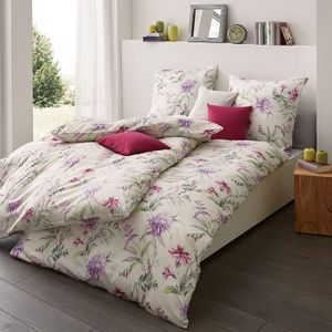 Estella Jersey Bettwäsche 135x200 Blüten  Blätter violett  6155-060