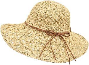 Sonnenhüte Damen Faltbarer, Strohhut Damen Sommer mit Sonnenschutz Breite Krempe 56-58cm, Strandhut UV Schutz für Reise Urlaub, Ultraleicht & Atmungsaktiv