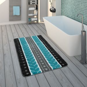 Badematte, Kurzflor-Teppich Für Badezimmer Mit 3-D-Muster, In Grau Blau, Grösse:40x55 cm