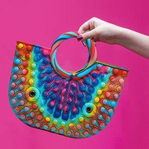 Zappeln Pop Bubble Handtaschen, Pop It Push Pop Bubbles Einkaufstasche, lustiges Zappeln Sensorische Spielzeug Stress Angstlinderung Geschenke für Frauen (40 * 30cm)