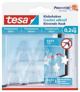 tesa Powerstrips Klebehaken für Glas transparent