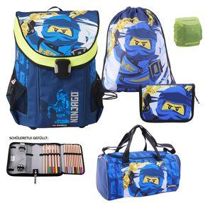 Lego Ninjago Easy Schulranzen Set 5tlg. Team Ninja JAY mit Federmappe gefüllt, Sporttasche und Regenschutz Schultasche 1. Klasse