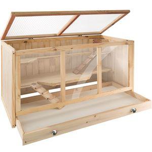 tectake Nagerkäfig aus Holz 95x50x50cm - braun