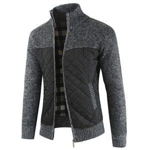 Herren Herbst Winter Packwork Warmer Reißverschluss Jacke Strick Cardigan Langarm Mantel Größe:M,Farbe:Dunkelgrau