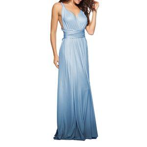 Frauen Cabrio Kleider Maxi Kleid Multi Way Ombre Abend Flowy Brautjungfer Party Cocktail Neujahr Formal Long Dress[Blau-L]