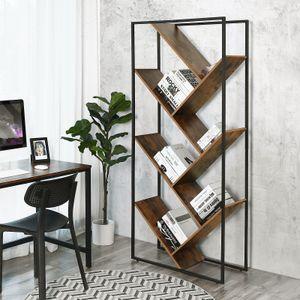 VASAGLE Bücherregale mit 4 Ebenen 76,3 x 33,6 x 178,5 cm Metallgestell einfacher Aufbau im Industrie-Design Vintage LBC17BX