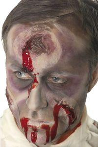 Halloween Horror Haut Applikation blutiges Loch im Kopf zum Kostüm