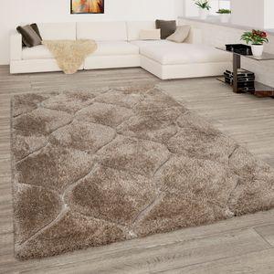 Hochflor Teppich Wohnzimmer Shaggy 3D Effekt Geometrisches Muster Modern Beige, Grösse:120x160 cm