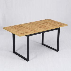 B&D home® Esstisch ausziehbar 160x80 Wildeiche Holzplatte Kufentisch schwarz industrial dining table