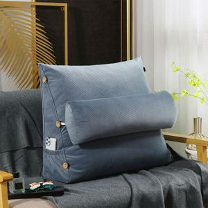 60cm Ergonomisches Rückenkissen + Nackenrolle Keilkissen Rückenlehne für Sofa - Hellblau