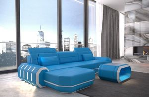 Ledersofa Roma L Form blau-weiss