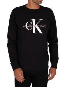 Calvin Klein Jeans Herren Kultiges Monogramm-Sweatshirt, Schwarz XXL