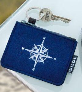 1 Schlüsseletui Schlüsseltasche Portemonnaie, maritim, aus Filz