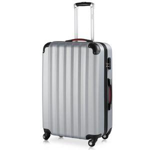Monzana® Hartschalen Koffer Trolley 4 Rollen Reisekoffer Gepäck Schloss Silber XL