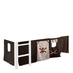 Vorhang Pirat Seeräuber 3-tlg 100% Baumwolle inkl Klettband Kinderzimmer Stoffvorhang Spielvorhang für Hochbett Kinderbett Bett Spielbett Stockbett Gardine