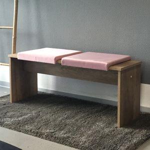 animal-design Klemm-Kissen (60009) mit 1 Leiste weiches Sitz-Kissen für Sitz-Bank blau rosa ca. B 40cm x T 35cm / 38cm x H 6cm, Farbe:rosa