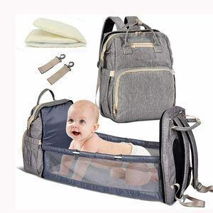 Baby Wickelrucksack Wickeltasche Multifunktional Wasserdicht Mummy Rucksack mit Faltbarem Bett & Haken, Grau