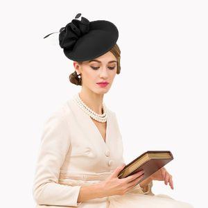 Britische Hüte für Frauen Pillbox-Hut aus Filz Fedora Vintage Blumen-Hochzeits-Hut -(Schwarz Fascinator Hut,)