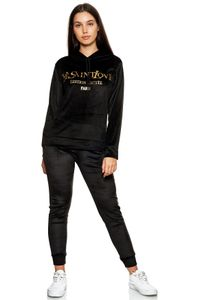 Damen Velour Nicki Sportanzug Jogginganzug Yoga Anzug Kapuze Print Pocket Design, Farben:Schwarz, Größe:L-XL