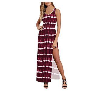 Frauen Party Strand Urlaub Krawatte Dye / Solid High Slit Long Bodycons Kleid Größe:L,Farbe:Rot