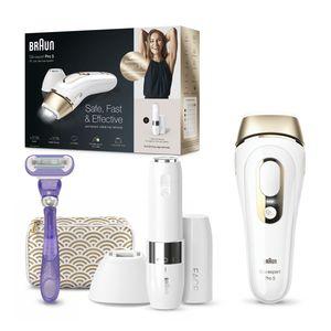 Braun Silk-expert Pro 5 PL5139 IPL-Haarentfernungsgerät für dauerhaft sichtbare Haarentfernung für Damen, Weiß/Gold