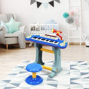 COSTWAY 37 Tasten Klaviertastatur mit Hocker, Kinder Keyboard mit Ständer, Klavier Spielzeug elektronisch, Musikinstrument mit Lichter, Aufnahme- und Abspiel-Funktion, inkl. Mikrofon Blau