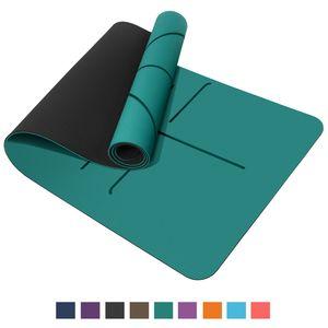 TOPLUS Yogamatte, Pilatesmatte, Gymnastikmatte, rutschfest aus TPE,Übungsmatte Sportmatte für Yoga,Pilates, Fitness usw. 183 x 61 x 0,6cm , Grün & Schwarz