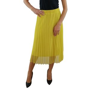 PAOLA SORMANI Tüll Faltenrock,Rock mit elastischer Taille, bequem,gefüttert gelb, Größe:40