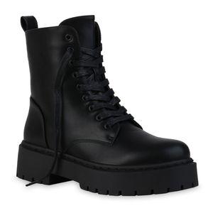 VAN HILL Damen Stiefeletten Plateau Boots Stiefel Profil-Sohle Schuhe 837786, Farbe: Schwarz, Größe: 38