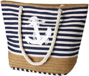 Große Strandtasche mit Reißverschluss und Innentasche Wasserdicht Strandtasche, Einkaufstasche Shopper für Damen, Schultertasche Einkaufstasche - Blau