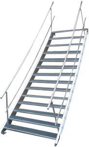 Stahltreppe 14 Stufen-Breite 100cm Variable-Höhe 210-280cm beidseit. Geländer