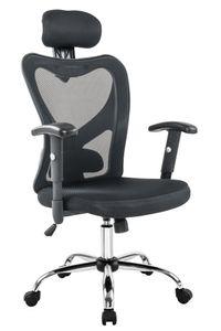 SalesFever Bürostuhl mit Armlehnen und Kopfstütze | Bezug Mesh | Gestell Chrom | höhenverstellbar | B 65 x T 60 x H 114 - 124 cm | schwarz