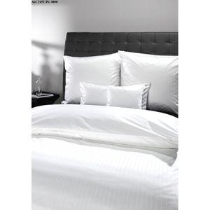 Curt Bauer Mako-Brokat-Damast Bettwäsche Dessin 2452 Ferrara, Weiß 135 x 200 + 80 x 80 cm