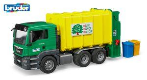 Bruder MAN TGS Müll-LKW Hecklader grün/gelb; 3764