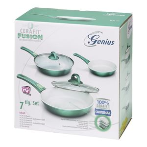 Genius Cerafit Fusion Bratpfannen-Set (7 Teile) Ø 20 cm Ø 24 cm Ø 28 cm in smaragdgrün mit Antihaft-Beschichtung; A24055
