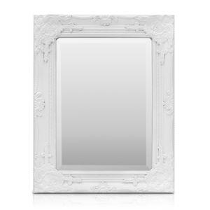 Rococo by Casa Chic Weißer Shabby Chic Spiegel - Massivholz - Handgefertigt - Barock - 42x53 cm - Antik Weiß