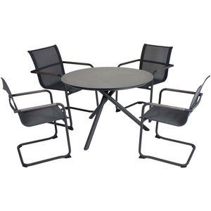 5tlg. Tischgruppe  Set Garten Sitzgruppe Tisch Stuhl Stühle Sessel Freischwinger