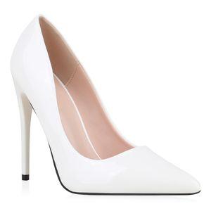 Mytrendshoe Damen Pumps High Heels Stiletto Elegante Schuhe Absatzschuhe 832053, Farbe: Weiß, Größe: 39