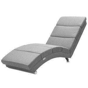 Casaria Relaxliege Liegesessel London Wohnzimmer Ergonomisch 186x55cm Modern Relaxsessel Liegestuhl, Farbe:Stoff grau