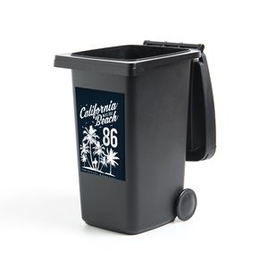 Mülltonnenaufkleber - Strand - Palmboom - Retro - 40x60 cm