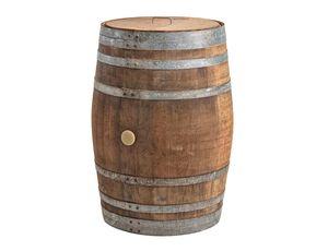 225 Liter Weinfass als Regentonne mit Deckel (Edelstahlgriff) - massives Eichenfass naturbelassen