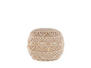 Pouf Beige Baumwolle Rund 40 x 40 cm Knitting Boho-Stil