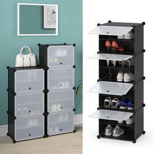 VICCO Schuhschrank modular DIY Steckregal System aus Kunststoff Garderobe Schuhregal 4 Fächer