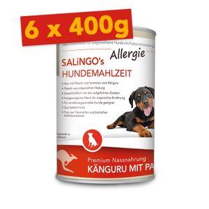SALiNGO Premium Hunde Nassfutter Känguru mit Pastinake | getreidefrei | hypoallergen | 6x400g