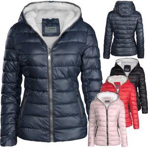 Damen Winter Jacke Kurz Gefüttert, Farbe:Dunkelblau, Größe:XL