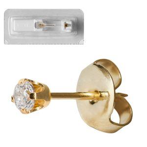 1 Stück Erstohrstecker 750er Gelbgold mit Zirkonia Studex System 75 Größe - 2 mm Ohrschmuck Ohrringe Ohrhänger