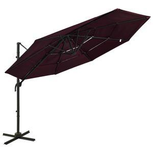 vidaXL Sonnenschirm mit Aluminium-Mast 4-lagig Bordeauxrot 3x3 m