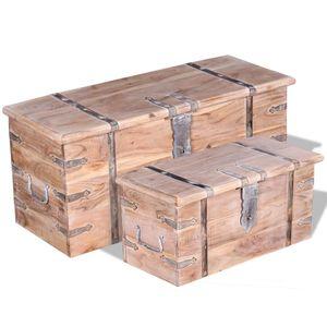 Zweiteiliges Aufbewahrungstruhen Set Akazienholz